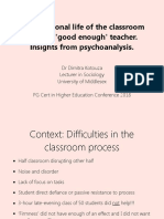 The Emotional Live of the Classroom and the 'Good Enough' Teacher