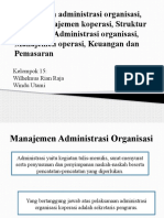 Manajemen administrasi organisasi, Aspek manajemen koperasi, Struktur organisasi, Administrasi organisasi, Manajemen operasi, Keuangan dan Pemasaran