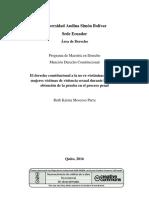 El Derecho Constitucional a La No Re-Victimización de Las Mujeres Víctimas de Violencia Sexual Durante La Fase de Obtención de La Prueba en El Proceso Penal