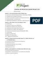 Temario de Planificación y Contol de Proyectos Con Ms Project 2013