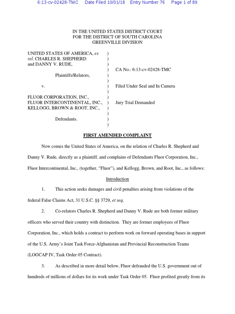 2018 Oct 1 amended complaint pdf | Kbr (Company) | Inventory