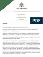 Papa Francesco 20190102 Udienza Generale