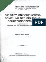 Kirchner, Aloys - Die Babylonische Kosmogonie und der biblische Schöpfungsbericht (1910)