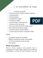 Ingredientes Do Escondidinho de Frango Cremoso