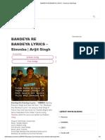Bandeya Re Bandeya Lyrics - Simmba _ Arijit Singh