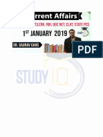 Current affairs PDF in English of 1st Jan 2019 For Govt Exams- StudyIQ