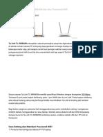 Cara Setting Tp-Link TL-WR840N Dan Atur Password WiFi - Menit Info