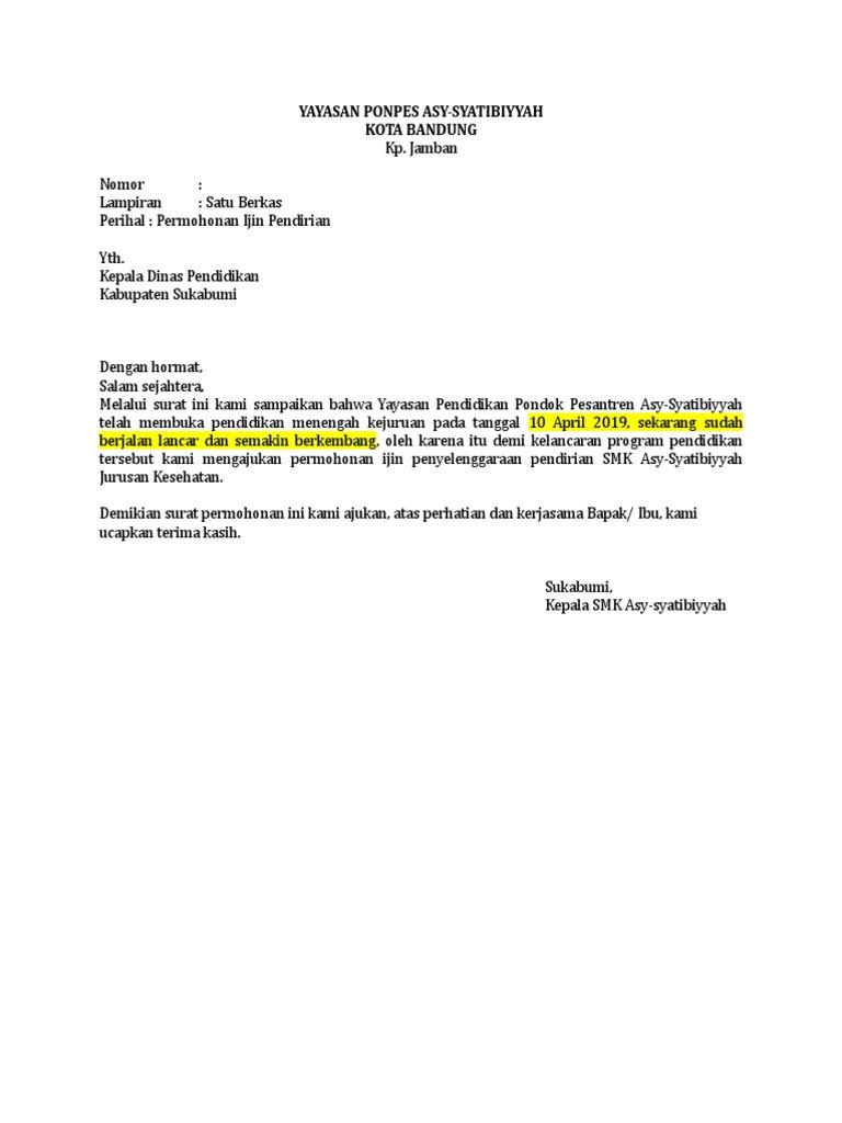 Surat Izin Kepala Sekolah Ke Dinas Pendidikan
