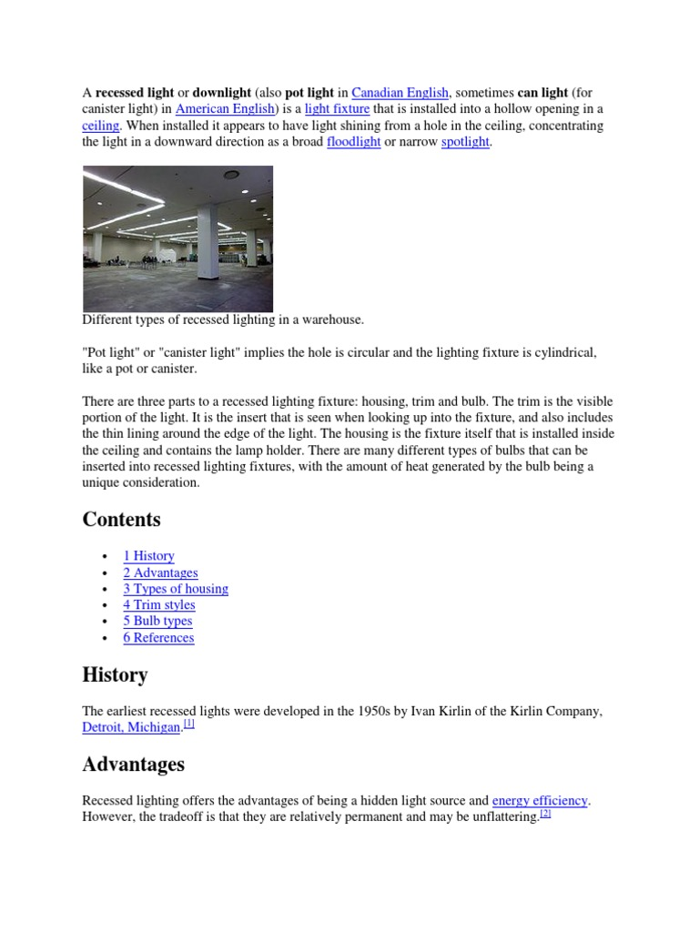 A Recessed Light Or Downlight Lighting Architectural