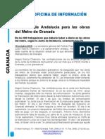 La Junta de Andalucía para las obras del Metro de Granada