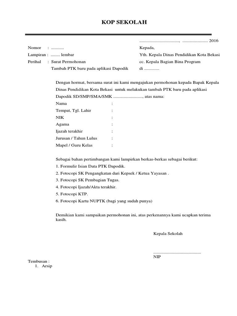 Kop Surat Dinas Pendidikan Kota Bekasi - Contoh Kop Surat