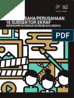 180797 Profil Usahaperusahaan 16 Subsektor Ekonomi Kreatif Berdasarkan Sensus Ekonomi 2016 Se2016