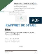 Rapport Du Progrès Des Eaux Minérales d'Oulmes Avril 2015