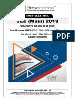 JEE Main 2019 Chemistry January Attempt Shift - 1(12th January, 2019)