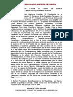 Ley de Creacion Del Distrito de Paratia