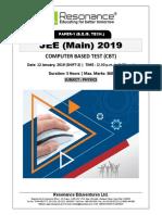 JEE Main 2019 Physics Attempt Shift - 2(12th January, 2019)