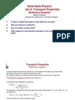 Transport Properties and Boltzmann Equation