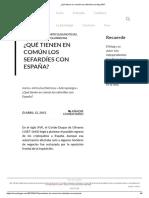 ¿Qué Tienen en Común Los Sefardíes Con España