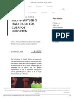 Judith Butler o Hacer Que Los Cuerpos Importen
