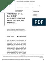 """""""Primeros en El Ranking""""_ Algunos Indicios de La Alienación Métrica"""