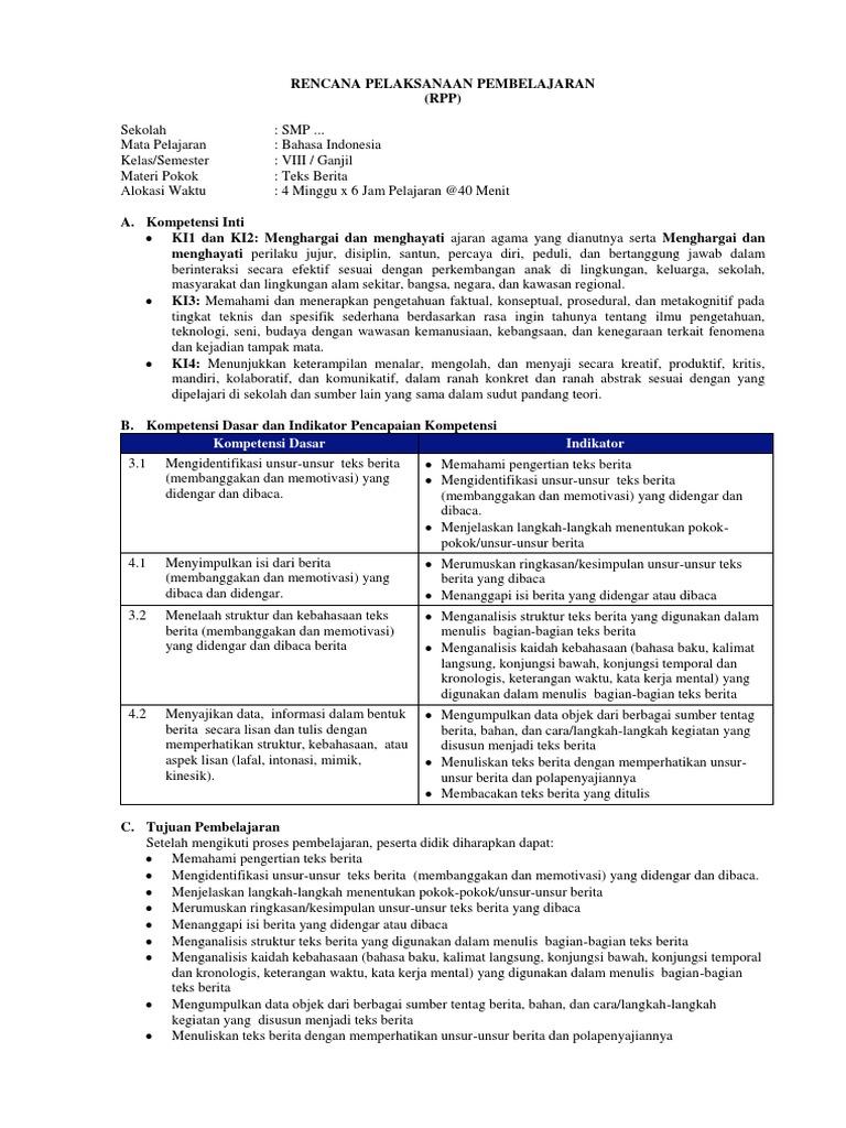 Contoh Rpp K13 Bahasa Indonesia Teks Berita Terbaru Disertai Literasi Ppk 4c Dan Hots