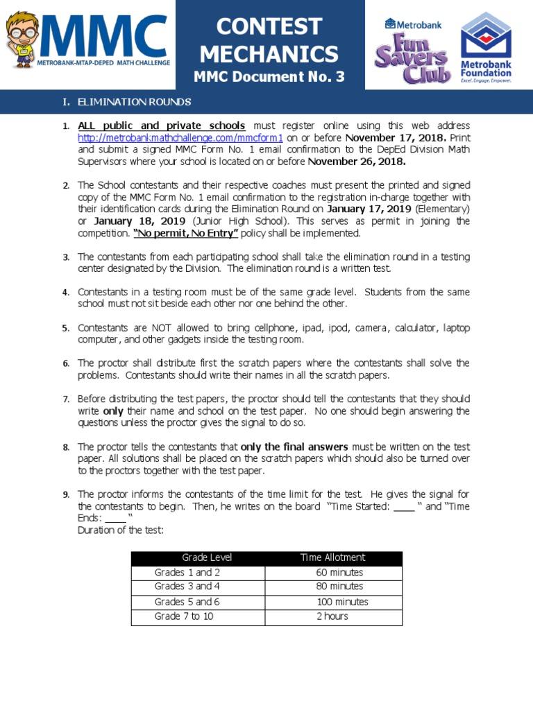 Document 3 MMC 2019 Contest Mechanics | Question | Test