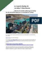 Buenaventura Reporta Huelga de Contratistas en Mina Uchucchacua