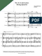 Moises Bertran - Toi, Tu Es Mon Pays - Para Cuarteto de Cuerdas - Score