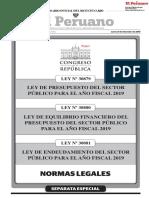 LEY 30879 Ley Presupuesto Sector Publico 2019