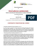 Tematiche Corso Giornalismo ambientale