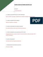 Cuestionario Lenguaje Primer Semstre 2018