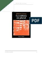 137688083 de Certeau Michel La Cultura en Plural