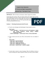 Networking Mid-semester Exam Marking Scheme - 2004-5 Semester 1