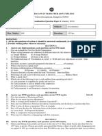 II PUC Accountancy Paper  model paper