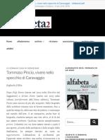Tommaso Pincio, Vivere Nello Specchio Di Caravaggio - Alfabeta2