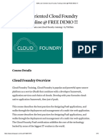 100% Job Oriented Cloud Foundry Training Online @ FREE DEMO !!!