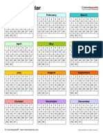 Blank Calendar Portrait Year at a Glance