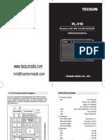 Tecsunradio Pl 310 English Manual PDF Download