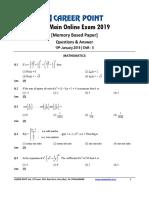 JEE Main 2019 Paper Answer Maths 10-01-2019 2nd