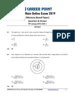 JEE Main 2019 Paper Answer Physics 10-01-2019 1st