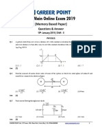 JEE Main 2019 Paper Answer Physics 10-01-2019 2nd