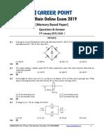 JEE Main 2019 Paper Answer Physics 11-01-2019 1st