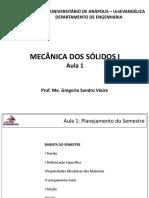 Aula 1 - Mecânica Dos Sólidos 1