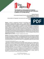 Tensão Entre Escrita e Oralidade No Ensino-Aprendizagem Do Português Na Etnia Balanta Brassa (Tombali) Da Guiné-bissau