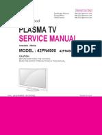 Lg 50pk750 television original service manual + schematics.