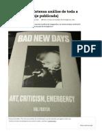 HAL FOSTER (Extensa análise de toda a sua obra até hoje publicada) _ L´obéissance est morte