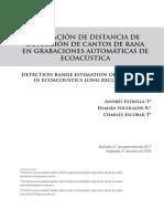 ESTIMACIÓN DE DISTANCIA DE DETECCIÓN DE CANTOS DE RANA EN GRABACIONES AUTOMÁTICAS DE ECOACÚSTICA