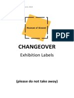 Bad Changeover Exhibition Labels - Museum of Dissent,Nov 2018