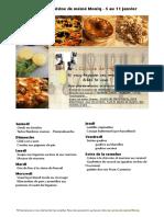 Menu de La Cuisine de Meme Moniq 5 Au 11 Janvier