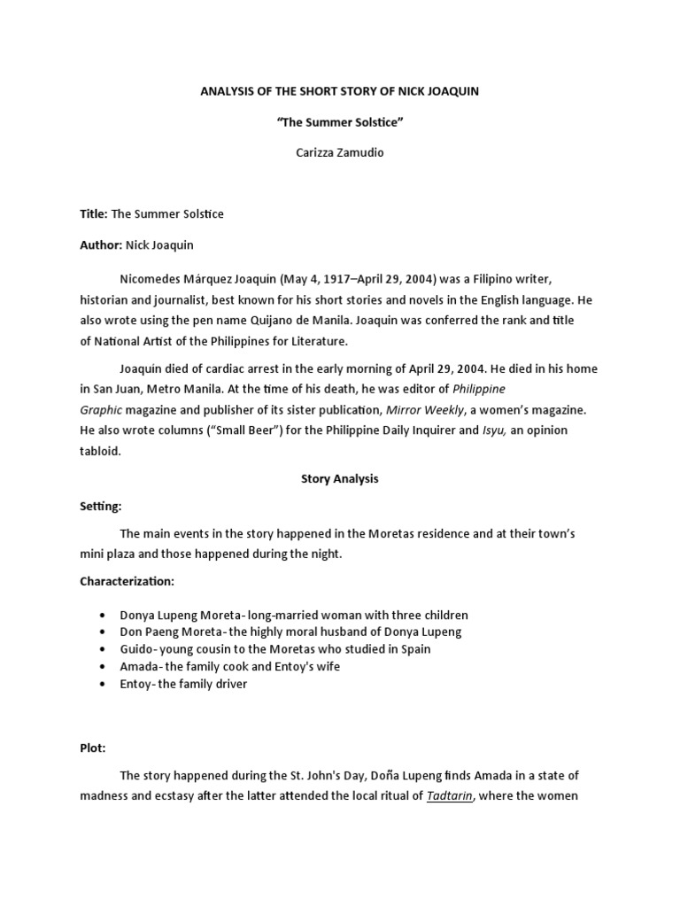 Cover letter short story analysis of the short story of nick joaquin madrichimfo Gallery